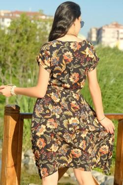 Siyahçiçekli Kemerli Elbise