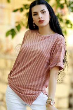 Pudra Çizgili Tişört