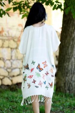 Kırıkbeyaz Desenli Püsküllü Elbise