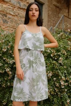 Beyazyeşil İp Askılı Elbise