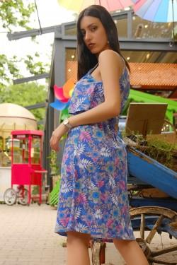 Maviçiçekli İp Askılı Elbise