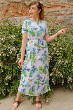 Yeşilbeyaz Kısa Kol Cepli Elbise