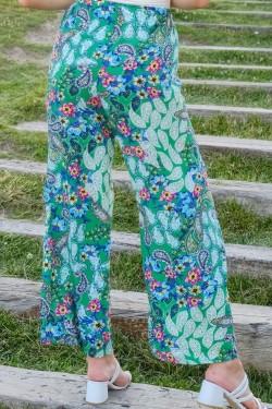 Yeşilfuşya Desenli Bol Pantolon