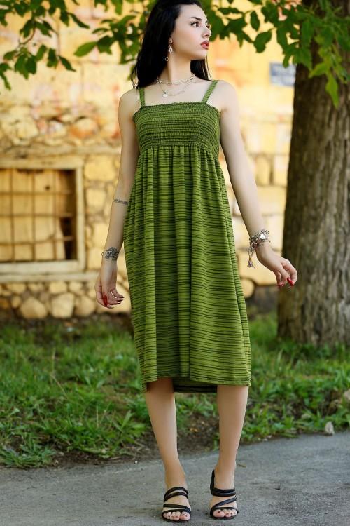 Çimenyeşili İp Askılı Elbise