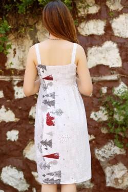 Gri Desenli İp Askılı Elbise