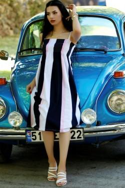 Lacipembe İp Askılı Elbise