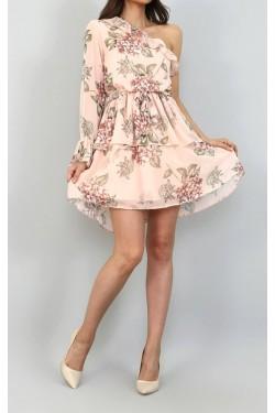 Tek Omuz Çiçekli Mini Elbise