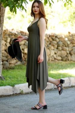 Haki Asimetrik Elbise