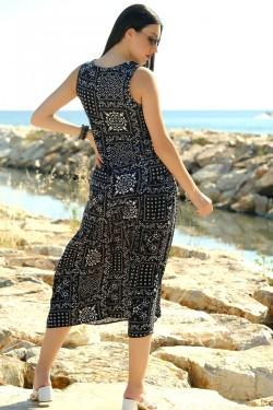 Siyah V Yaka Viskon Elbise