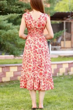 Bej Çiçekli V Yaka Elbise