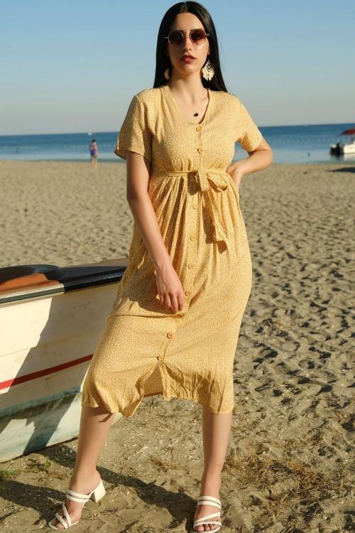 Sarı Viskon Elbise