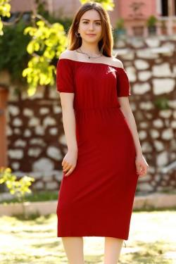 Bordo Yakası Lastikli Elbise