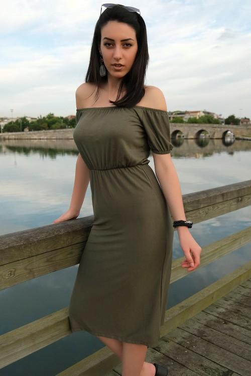Haki Yakası Lastikli Elbise