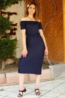Lacivert Yakası Lastikli Elbise