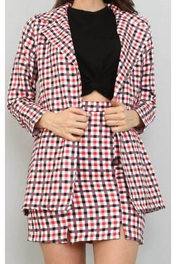 Kırmızı Çizgili Etek & Ceket Takım