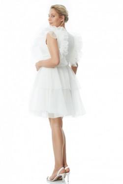 Büyük Beden Beyaz Kolsuz Mini Tül Abiye
