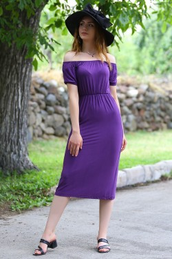 Mor Yakası Lastikli Elbise