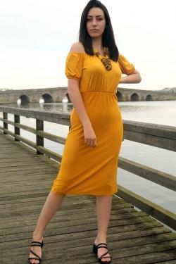 Sarı Yakası Lastikli Elbise