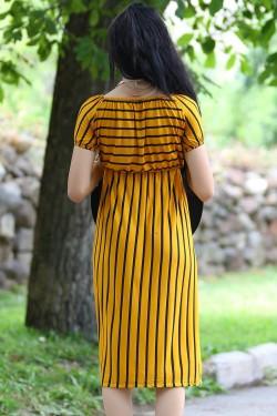 Sarısiyah Yakası Lastikli Elbise