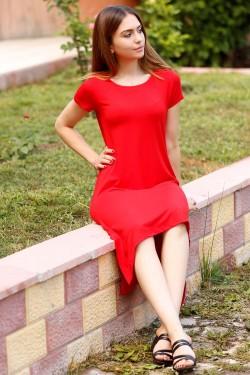 Kırmızı Asimetrik Elbise