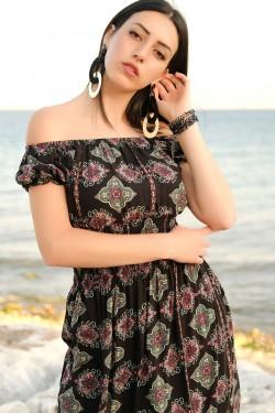Siyah Karpuz Kol Elbise