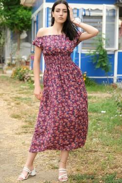Mor Çiçekli Karpuz Kol Elbise