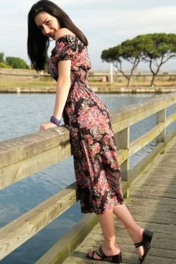 Siyah Çiçekli Karpuz Kol Elbise