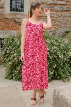 Kırmızı İp Askılı Bağcıklı Elbise