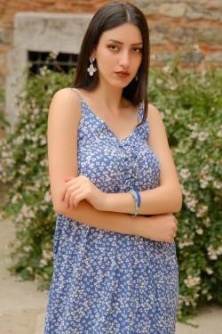 Mavi İp Askılı Bağcıklı Elbise