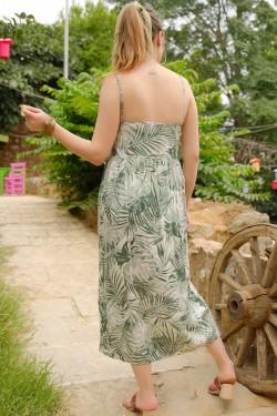 Yeşil İp Askılı Bağcıklı Elbise