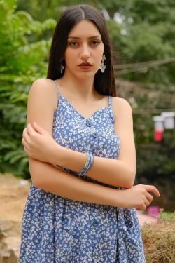 Mavi İp Askılı Düğmeli Elbise