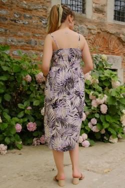 Mor İp Askılı Düğmeli Elbise