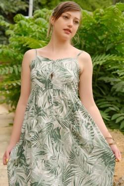 Yeşil Düğmeli İp Askılı Elbise