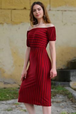 Bordosiyah Yakası Lastikli Elbise