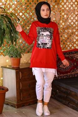 Kırmızı Baskılı Likralı Tunik
