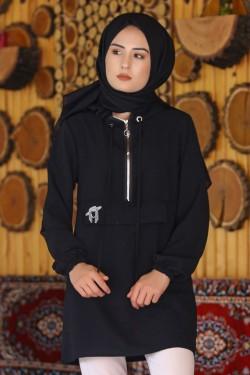 Siyah Fermuarlı Kapşonlu Tunik