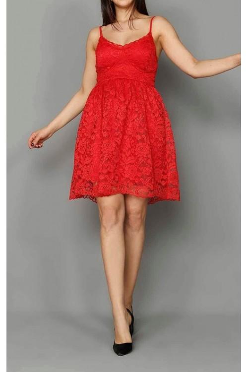 Kırmızı Güpür Mini Elbise