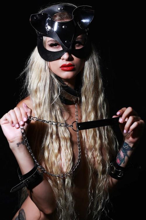 Deri Fantazi Set Maske Kelepçe ve Boyunluk Gri