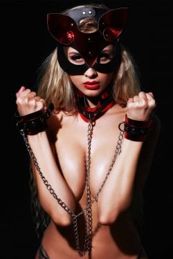 Mite Love Deri Kedi Kız Fantazi Set Maske Kelepçe ve Tasma