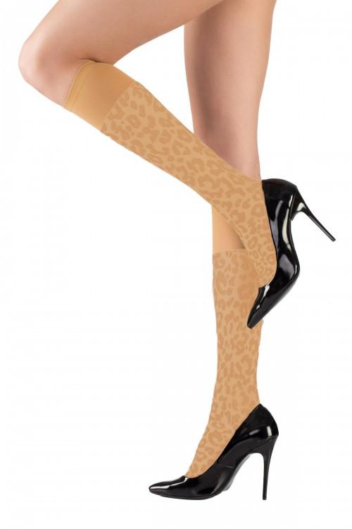 Dizaltı Çorap Leopar Desenli Sahra