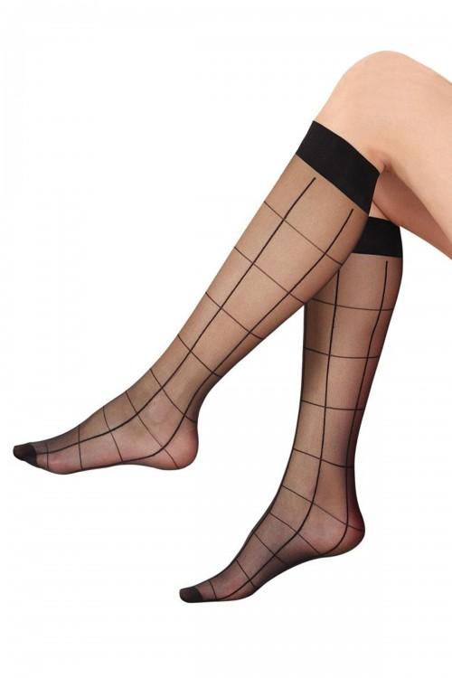 Dizaltı Çorap Baklava Çizgi Desenli