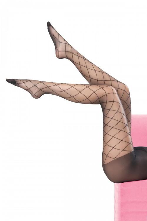 Külotlu Çorap Baklava Çizgili Siyah