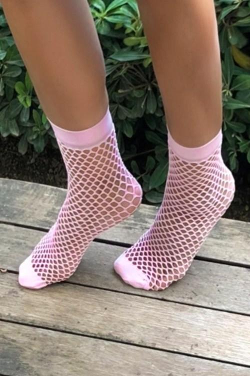 Şeker Pembe File Soket Çorap