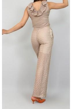 Ekru Delikli Crop Bluz & Pantolon Takım