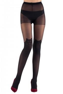 Mite Love Külotlu Çorap Ked Desenli 15 Denye Siyah
