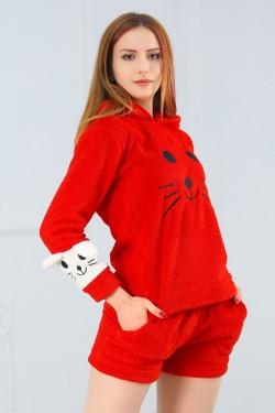 Şortlu Peluş Takım Kırmızı - 11798.1049.