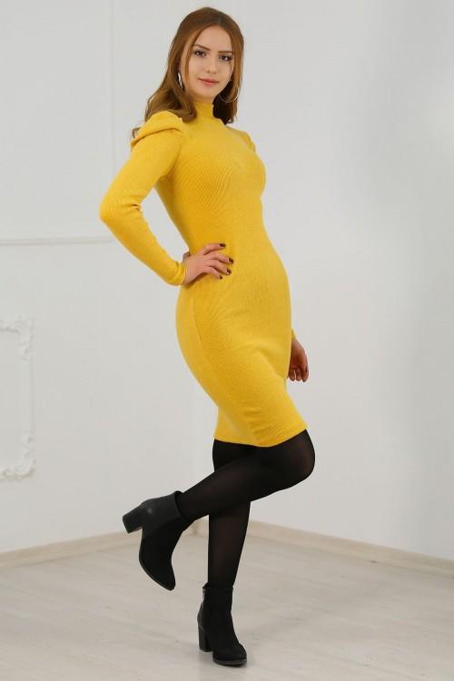 Prenses Kol Sarı Elbise