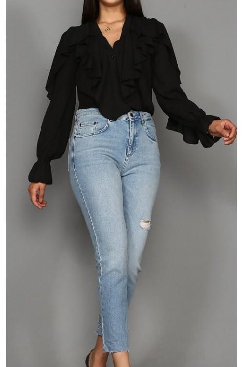 Siyah Fırfırlı Gömlek
