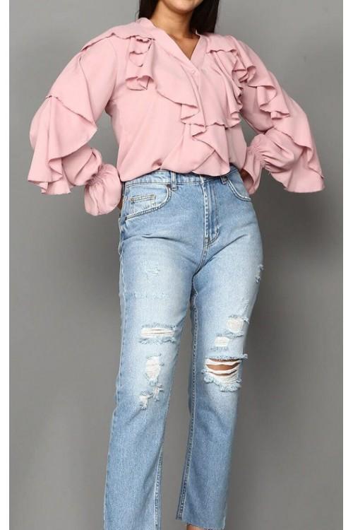 Pudra Fırfırlı Gömlek