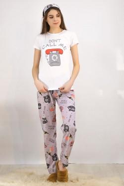 Baskılı Pijama Takımı Beyaz - 4697.102.